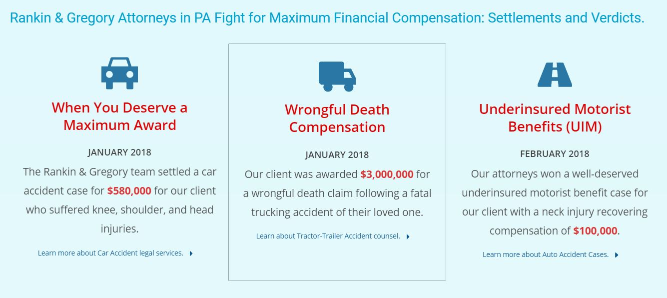 RG INJURY LAW | PA Accident Case Results - 99% Settlements and