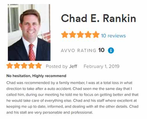 AVVO Client Reviews Pennsylvania Auto Accident Lawyer Chad Rankin
