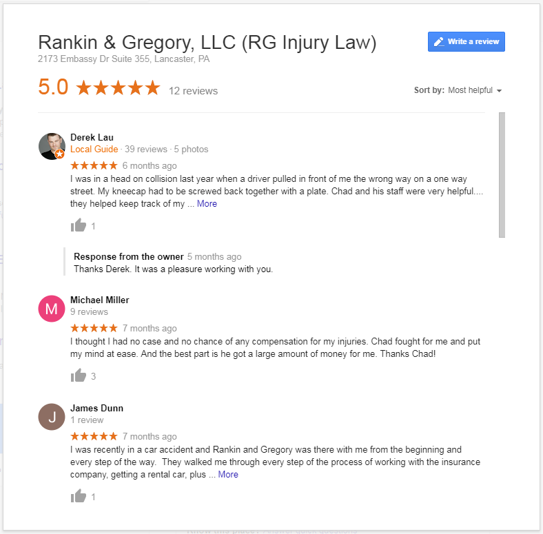 Rankin & Gregory, LLC (RG Injury Law) Google Reviews Highest Score 5/5 Stars