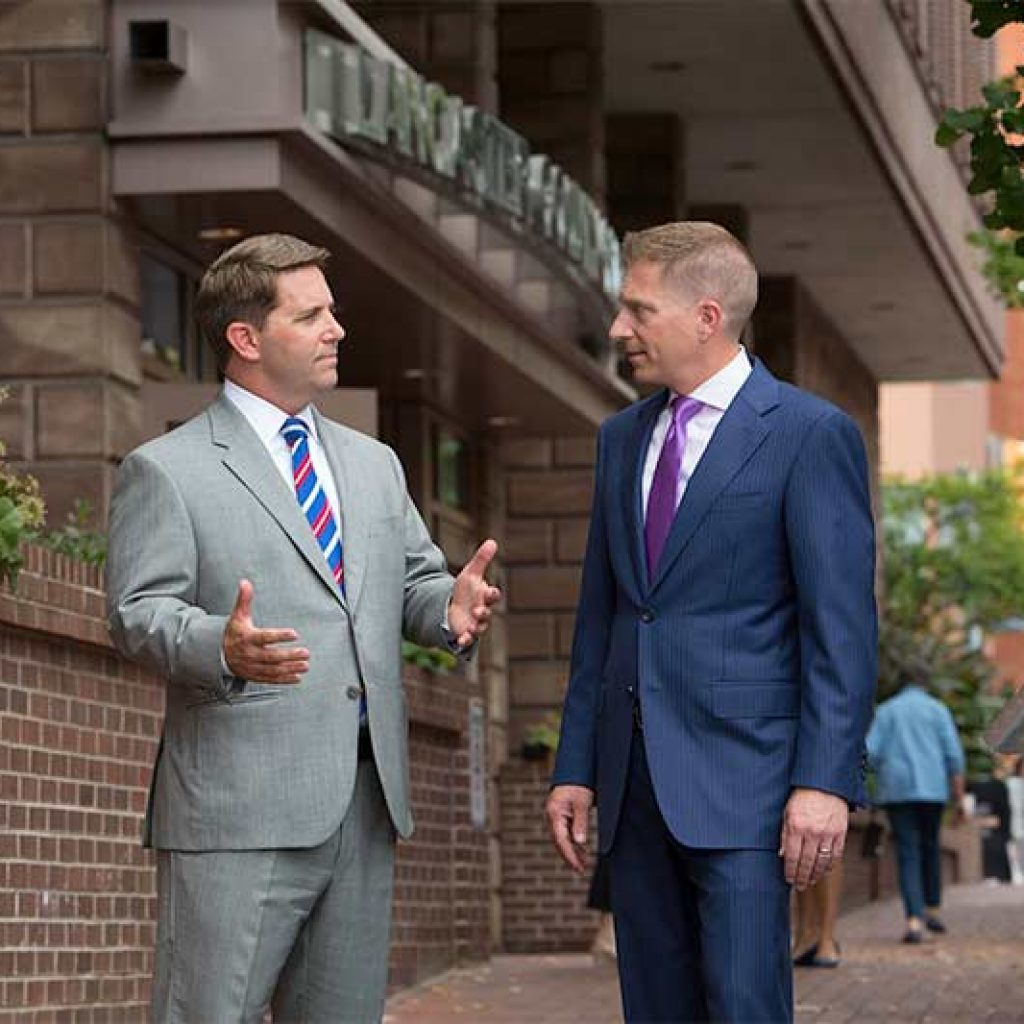 Litigation Attorneys Chad Rankin and Bill Gregory Outside of Lancaster County Courthouse in PA